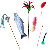 Cat Nip Toys Interactive Set Accessories Cat Stick Mouse Fish Feather 6 Pieces (cattoy001)