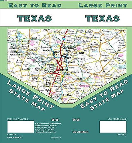 Large Map Of Texas.Texas Large Print Texas State Map Gm Johnson 9781770685024