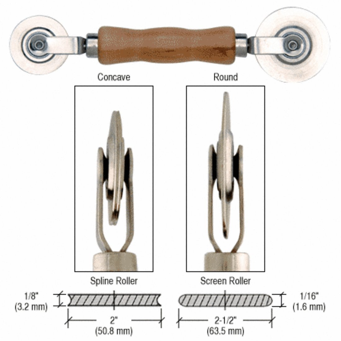 CRL Heavy-Duty Steel Combination Roller Tool 2-1/2'' x 1/16'' and 2'' x 1/8'' Wheels