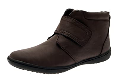 Womens Comfortable Flat Chelsea Gusset Faux Leather Ankle Boots Work Casual  Warm Winter Velcro Ladies Brown