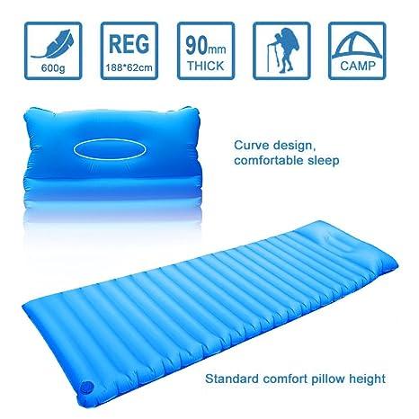 Colchón de aire hinchable Ultraligero con almohada, resistente al agua, para viajar, ir de camping, para el exterior, senderismo, playa, azul: Amazon.es: ...