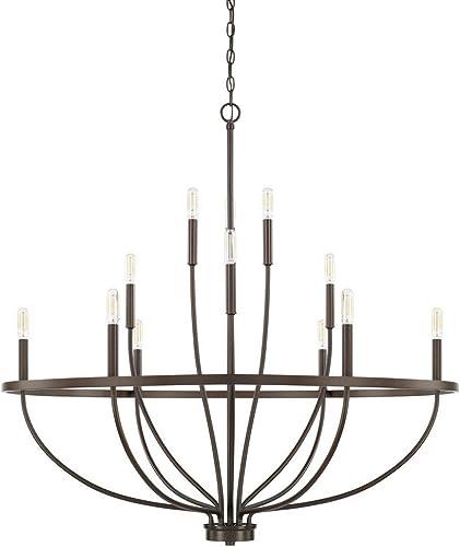 HomePlace 428501BZ Greyson Chandelier, 12-Light 720 Total Watts, Bronze