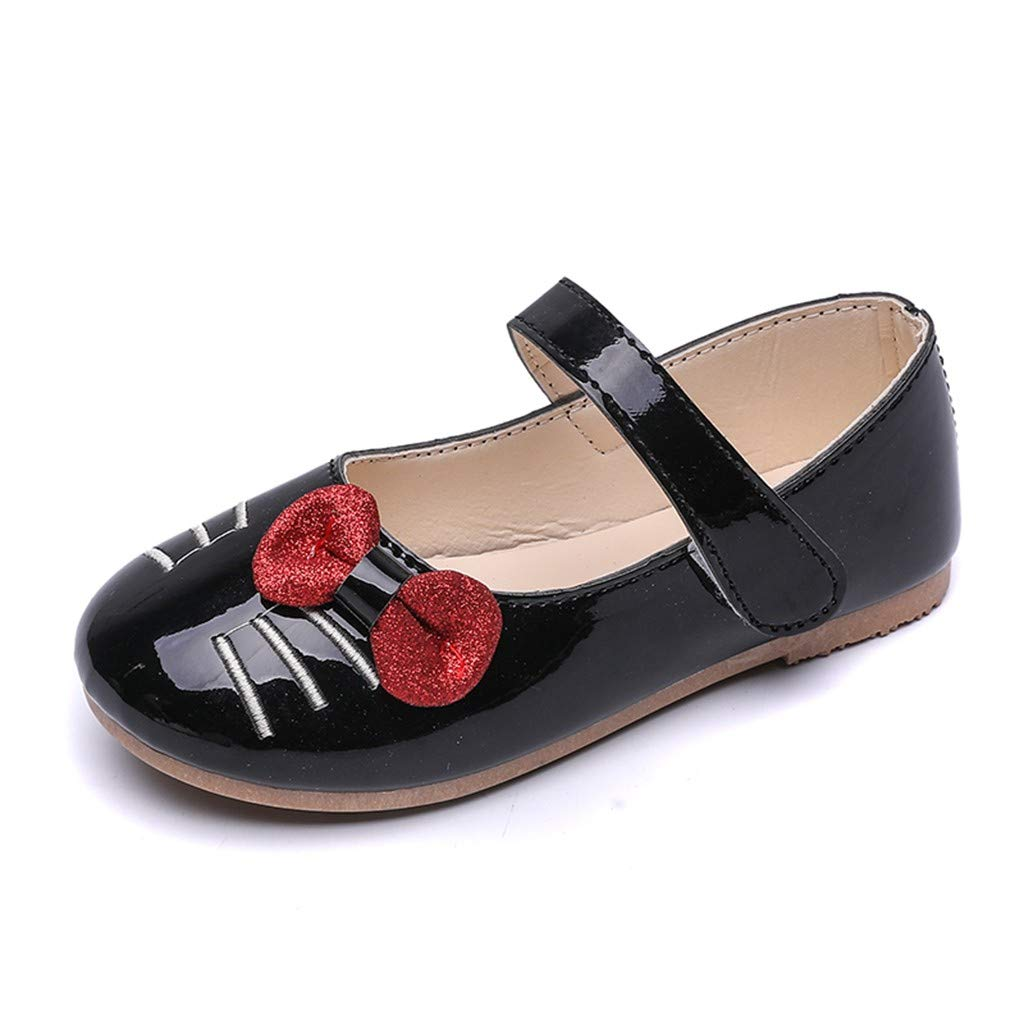 Randolly Toddler Shoes,Children Kids Girls Cat Cartoon Bowknot Princess Dance Single Casual Shoes Black by Randolly (Image #2)