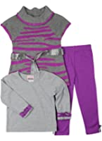 LnLClothing Toddlers 3pc Knit Top With Solid Color Leggings ID.513024-PR.R24