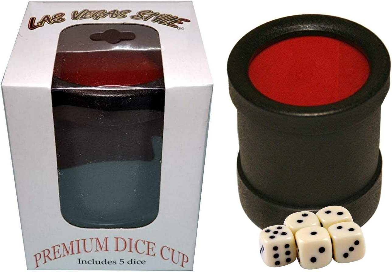 16mm Dice Black//Red 5 with Cyber-Deals Las Vegas Style Premium Dice Cup