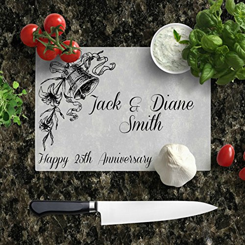 - Custom Glass Cutting Board, Tempered Glass, Personalized with your choice of names and dates with a beautiful wedding bell background