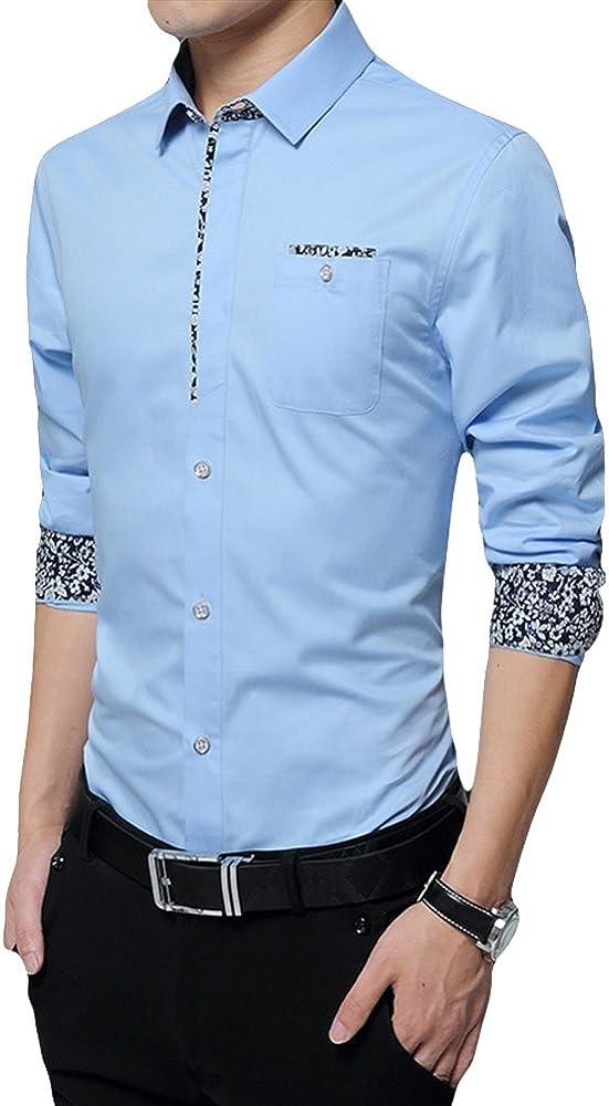Insun Hombres Camisa de Manga Larga Básica Casual Slim Fit Azul Claro ES 42: Amazon.es: Ropa y accesorios