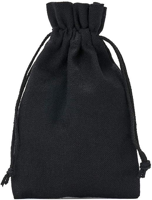 5 unidades de bolsas de algodón, bolsitas de algodón, Tamaño 40x30 cm con cordón de algodón para cerrar (negro): Amazon.es: Hogar