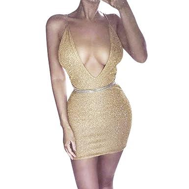 a6698f5efa Sexy Bodycon Dress,Hemlock Women Bling Party Deep V Dress Sleeveless  Backless Short Slip Dress