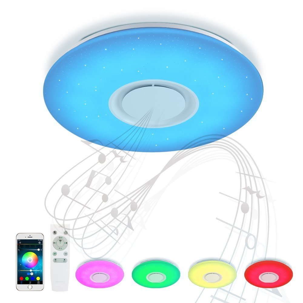 HOREVO Led Music Ceiling Light with Bluetooth Speaker 36W, High Sound Quality Speaker, Dimmable Modern Flush Mount ceiling lamp, RGB Color Changing Family Party Star Lights - Remote Includes