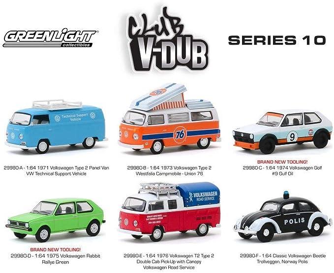 CLUB VEE V-DUB SERIES 11 6 PC SET 1//64 DIECAST MODEL CARS BY GREENLIGHT 30000