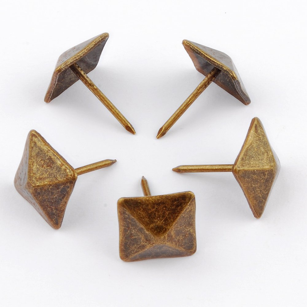 NW 100pcs Square bronze nail Bronze Upholstery Tacks Antique Brass Furniture Nails Pins (14x20mm) by NW (Image #1)