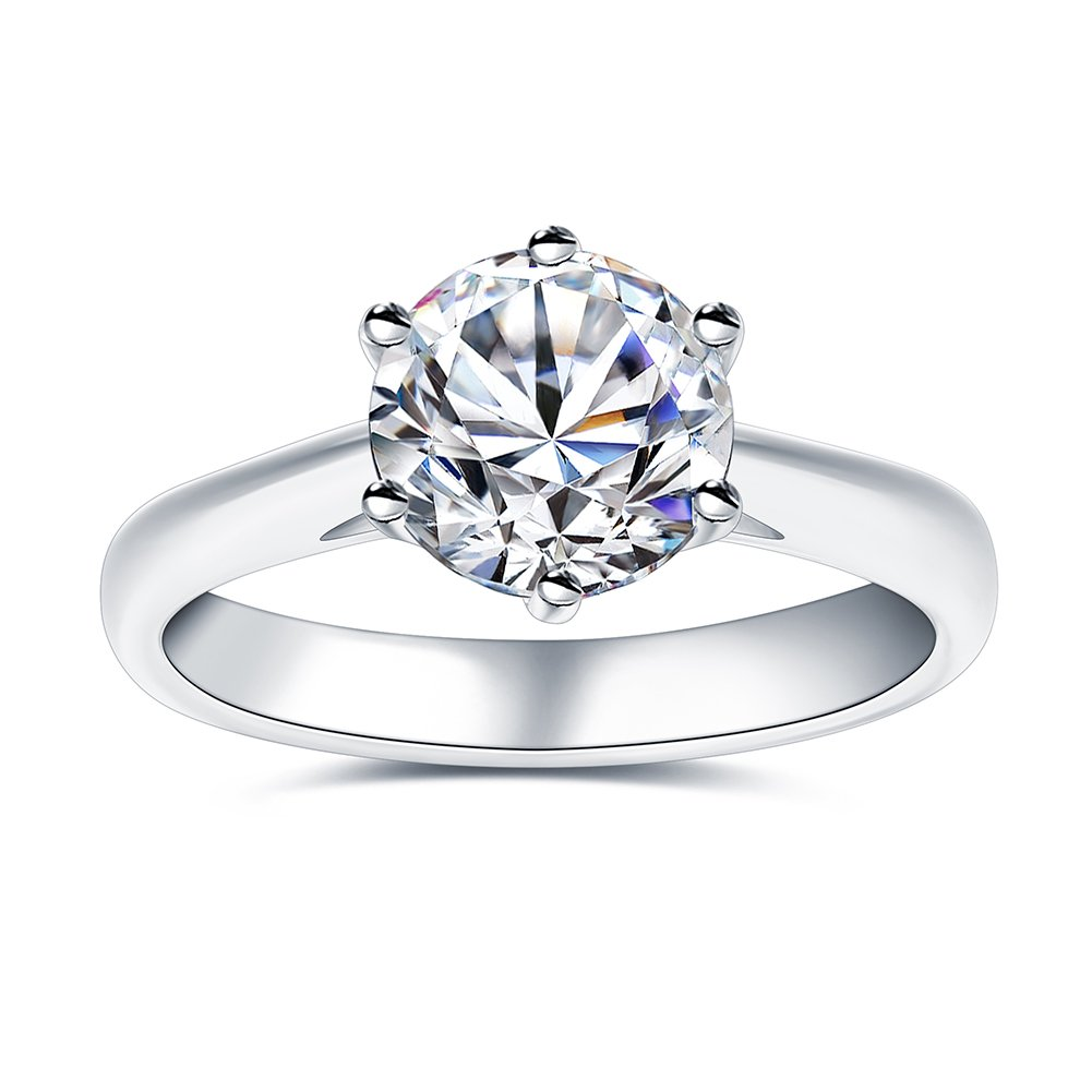 2.0 Ct Moissanite Ring Diameter 8.0mm H-I Coloress Sterling Silver Engagement Rings By Van Rorsi&Mo
