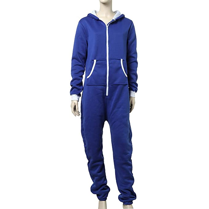 UNYU - Pijama de una Pieza - Mono Corto - Manga Larga - para Hombre Azul