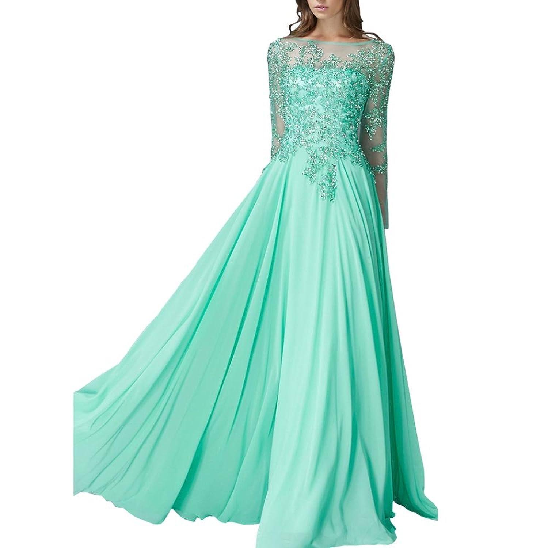 PrettyWedding Women's Long Sleeves Lace Beading Chiffon Green Bridesmaid Dress