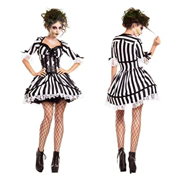 Charming Black And White Striped Ghost Bride Costume Vampire Knight Costume Zombie  Costume Cosplay Halloween Costume Makeup