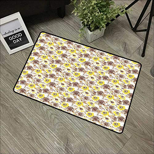 Hall mat W19 x L31 INCH Vintage,Grungy Looking Roses Feminine Vintage Flourish Romantic Nature Revival,Yellow Beige Brown Natural dye Printing to Protect Your Baby's Skin Non-Slip Door Mat Carpet