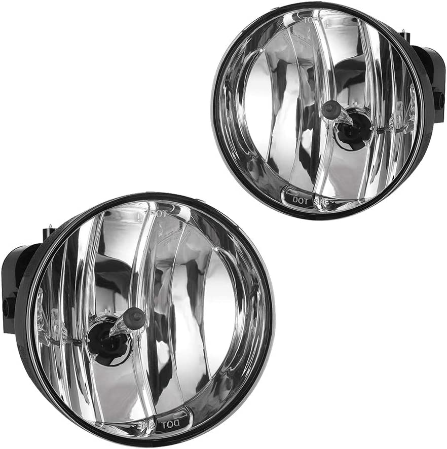 Driving Fog Lights Lamps Replacement for GMC Envoy 2002 2003 2004 2005 2006 2007 2008 2009 with H16 12V 19W Halogen Bulbs Clear Lens