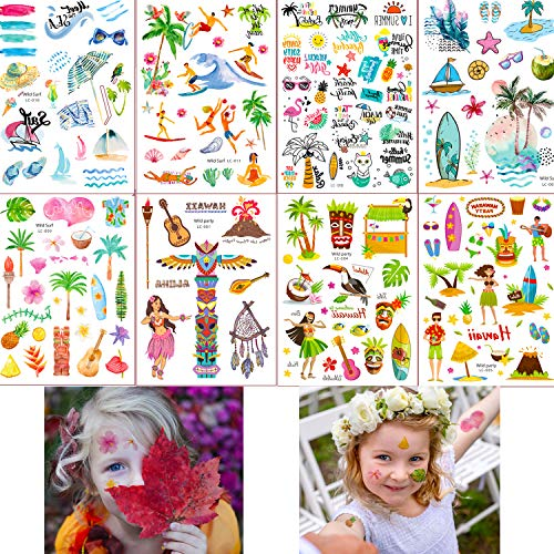 Hawaiian Temporary Summer Tattoos for Kids Adults, 120+ Tropical Summer Beach Pool Party Luau Tattoos Stickers 8 Sheets for Boys Girls, Birthday Party Favors School Carnival Game Festival Event -