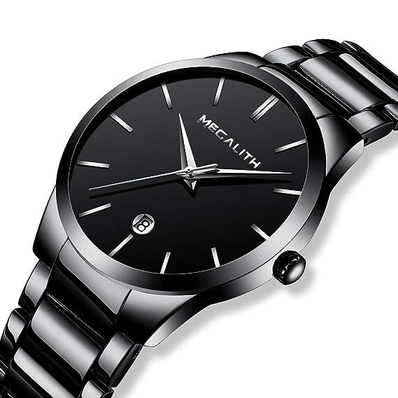 Relojes Hombre Acero Inoxidable Reloj de Pulsera de Lujo Moda Impermeable Fecha Calendario Analogicos Cuarzo Reloj