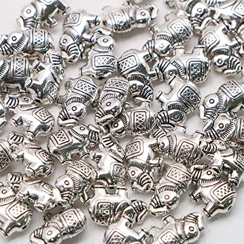 JETEHO 40PCS Lucky Elephant Charms Pendants Elephant Beads for Jewelry Finding Necklace Bracelet (Antique Silver)