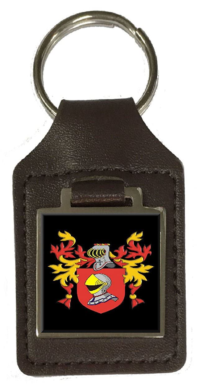 Vahan Family Crest Surname Coat Of Arms Brown Leather Keyring Engraved
