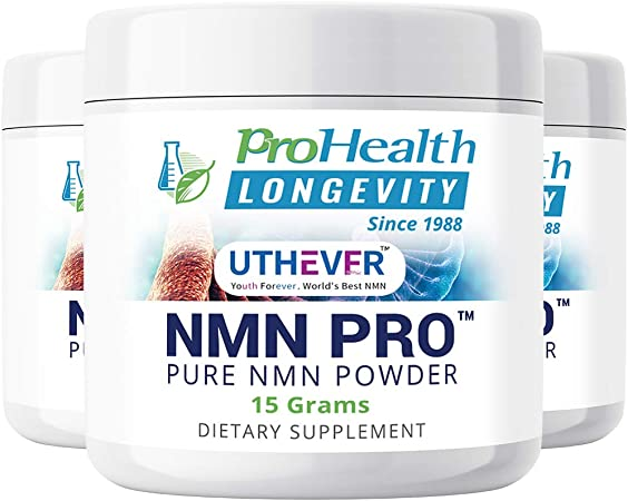 ProHealth Longevity PURE NMN Pro Powder 15 grams - Uthever Brand - World's most trusted, ultra-pure, stabilized, pharmaceutical grade NMN to boost NAD+, used in human clinical research trials(3 pack)
