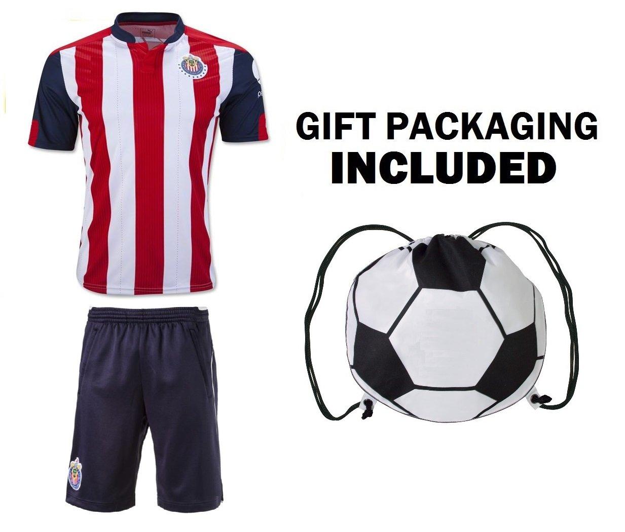 8a9a14ddaaa Fan Kitbag Chivas C.D. Club Deportivo Guadalajara Youth Soccer Jersey    Shorts Kids Premium Gift Kitbag ✮ BONUS GIFT Soccer Backpack