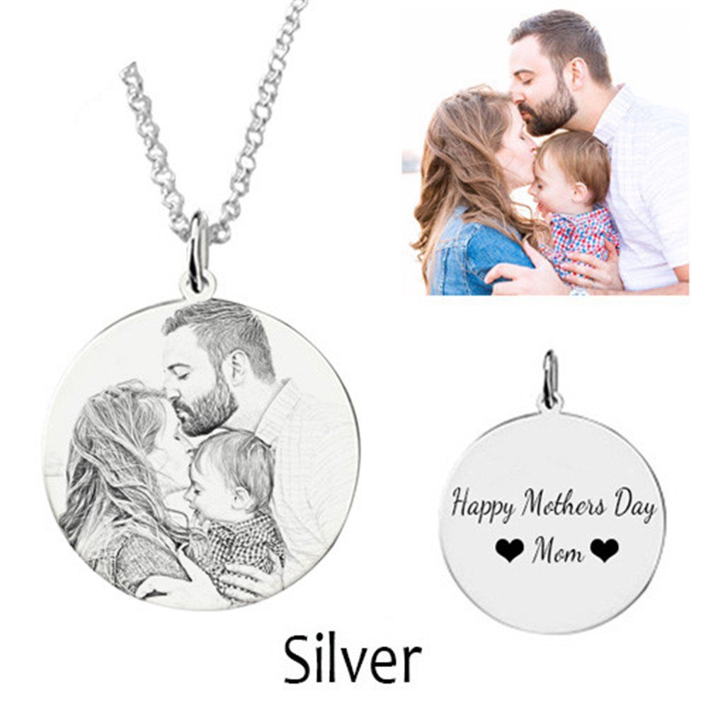 Personalized Necklace Customize Photo Necklace Siver Pendant carving Christmas gift For Lover
