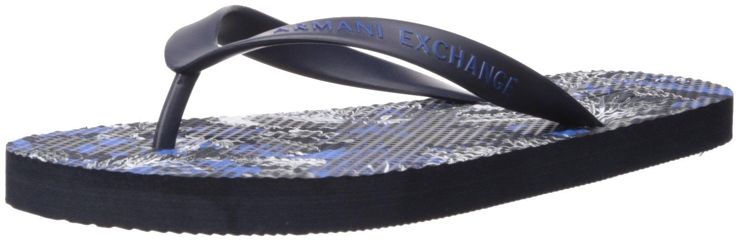 A|X Armani Exchange Men's Printed Graphic Flip-Flop, Exotic Blue, 12 Medium US