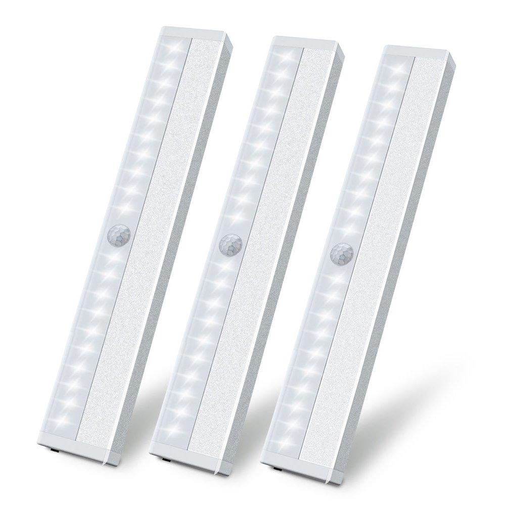 LED Motion Sensor Closet Light, Wireless Motion Sensing Under Cabinet Lights, USB Rechargeable Magnetic Stick on Anywhere 20 LED Night Light Bar for Counter Drawer Cupboard, White Light, 3 Pack