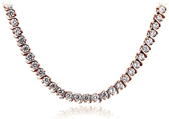 necklace trend Necklace 2 rows infinity bar 925 zircon silver bar with zirconium and double chain