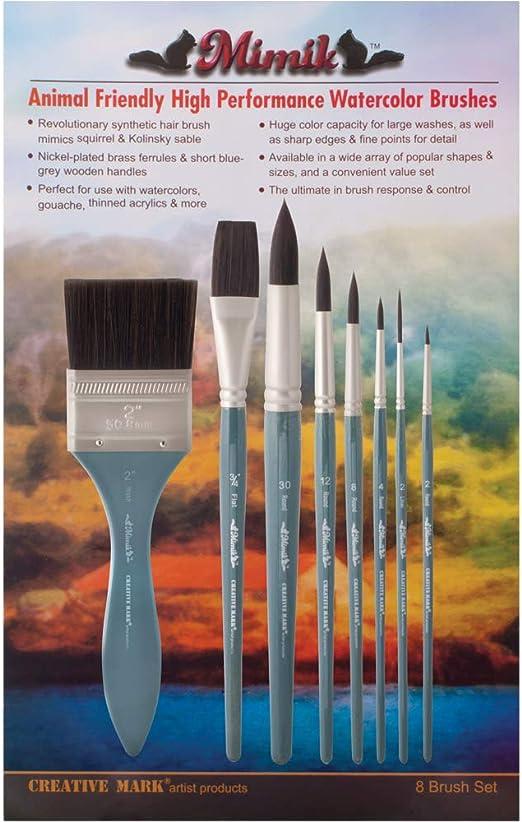 Creative Mark Mimik High Performance Professional Artist Synthetic Squirrel Hair Watercolor Brush Flat 1//2