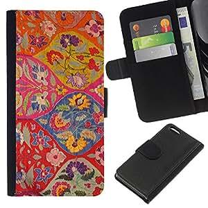 All Phone Most Case / Oferta Especial Cáscara Funda de cuero Monedero Cubierta de proteccion Caso / Wallet Case for Apple Iphone 5C // Floral Pattern Art Ogee Red Colorful