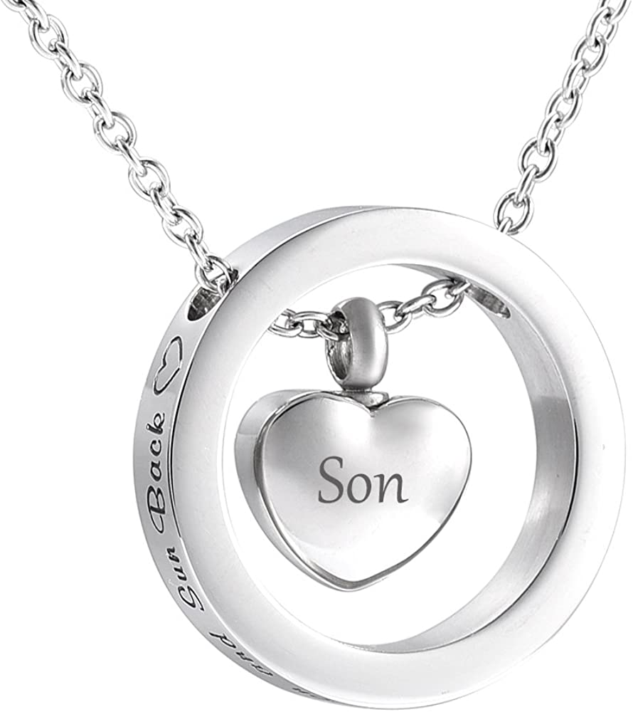 ALWAYS IN MY HEART Cremation Jewelry Silver Urn Necklace Memorial Keepsake ☆