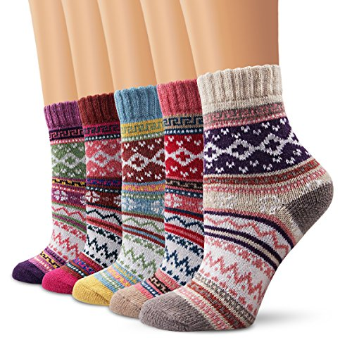 Ambielly Winter Women Socks 5 Pairs Vintage Style Knit Wool Casual Socks Thick Warm Colorful Socks (SD10004A)