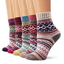 Ambielly Winter Women Socks 5 Pairs Vintage Style Knit Wool Casual Socks Warm Socks