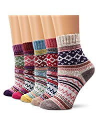 Ambielly Winter Women Socks 5 Pairs Vintage Style Knit Wool Casual Socks Warm Socks