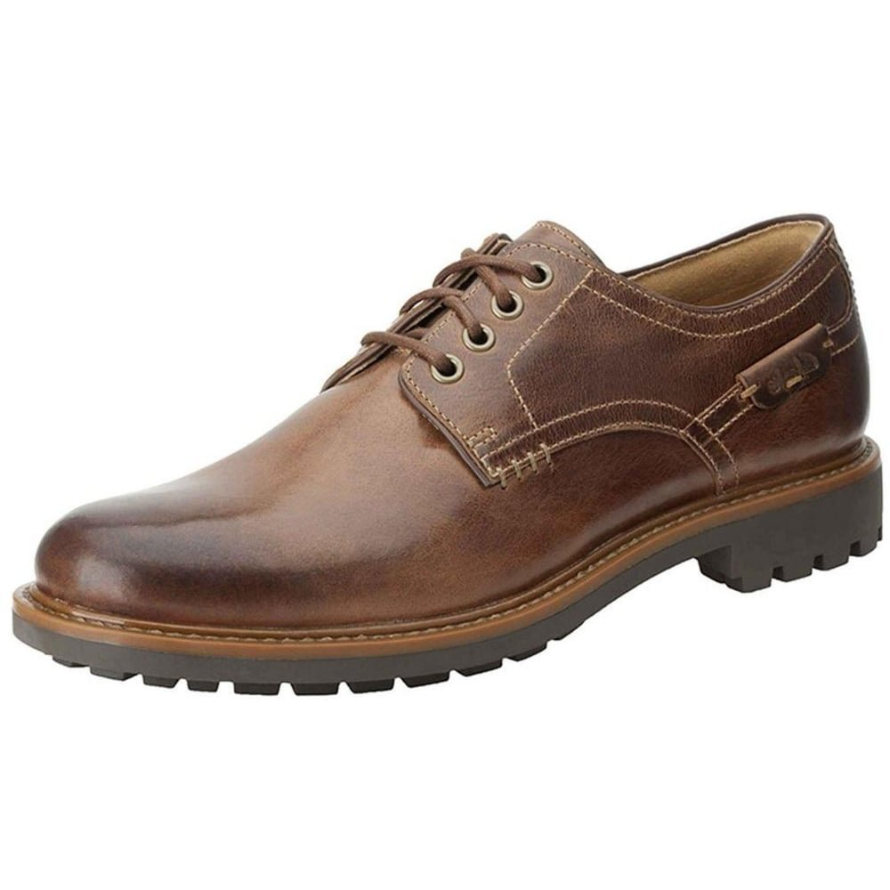CLARKS Men's Montacute Hall Leather Lace-up Casual Derby Shoes 11 D(M) US Dark Tan