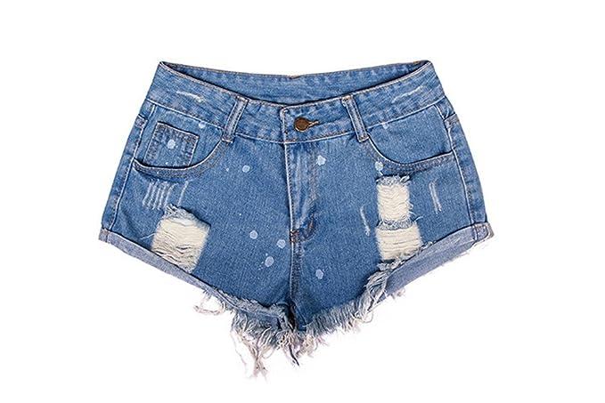 Oudan Pantalones Cortos de Las Mujeres Pantalones Vaqueros ...