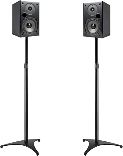 PERLESMITH Speaker Stands Extend 30-45 Inch with Upgraded Cable Management, Hold Satellite, Small Bookshelf Bluetooth Speakers up to 8lbs i.e. Vizio, Polk, Bose, JBL, Sony Samsung -1 Pair
