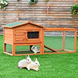Tangkula Chicken Coop Outdoor Wooden Chicken Coop Garden Backyard Farm Bunny Hen House Rabbit Hutch Small Animal Cage Pet Supplies for Chicken, Duck, Rabbit, etc (61.5'' x 20.5'' x 27''(L x W x H))