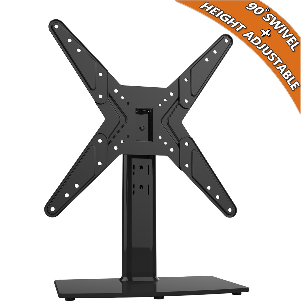 Hemudu Universal Swivel TV Stand/Base Table Top TV Stand for 21 to 42 inch TVs with 90 Degree Swivel, 4 Level Height Adjustable, Heavy Duty Tempered Glass Base, Holds up to 99lbs, HT02B-002