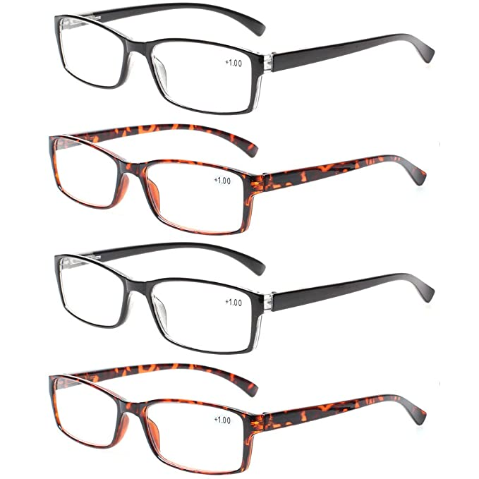 b8d3403f476a Reading Glasses 4 Pairs Quality Fahion Readers for Men and Women  Lightweight Rectangular Glasses for Reading
