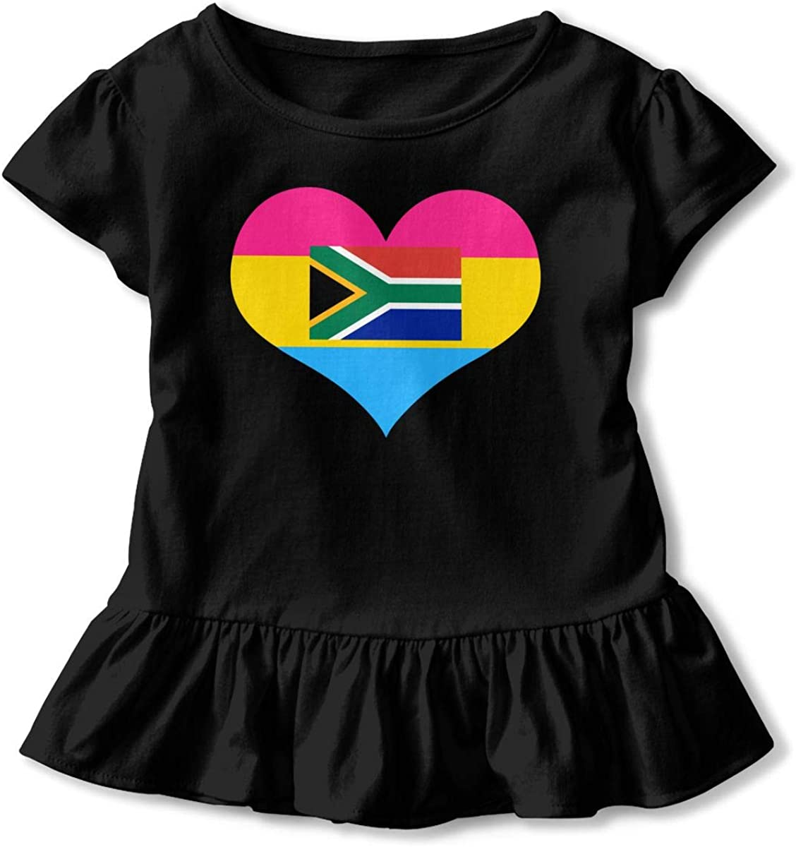 GNKTGBO2O Baby Girls Pansexual Heart South African Flag 100/% Cotton T Shirts Short Sleeve Ruffle Tee Basic Tops