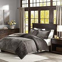 Parker Corduroy Plush Comforter Mini Set Grey Full/Queen