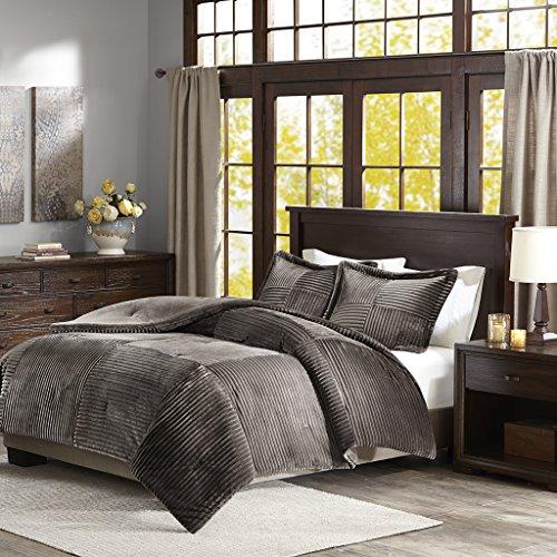 Parker Corduroy Plush Comforter Mini Set Grey King/Cal - Set Comforter Corduroy