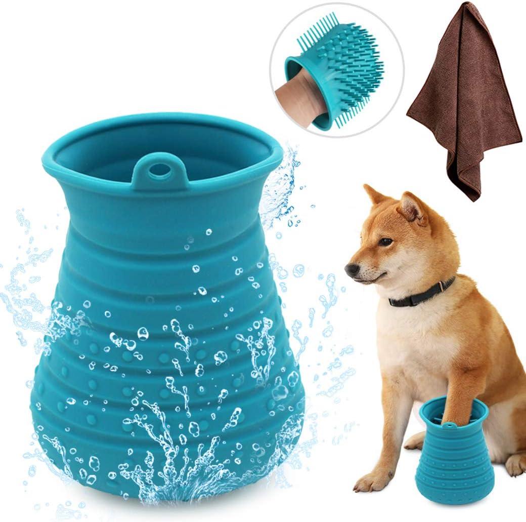 Idepet Limpiador de Huellas para Perros,Perros Lavadora Portatil,Cepillo De Limpieza para Mascotas con Toalla Pet Paw Cleaner para Perros Gatos Masaje Aseo Sucio Garras Azul (Azul)