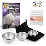 Bath Bomb Molds| Stainless Steel with 3 Sizes 6 Pieces Food Grade | Plus Solid Drawstring Storage Pouch, Free Recipe E-book and Printed Instruction| Superior to Aluminum or Plastic molds