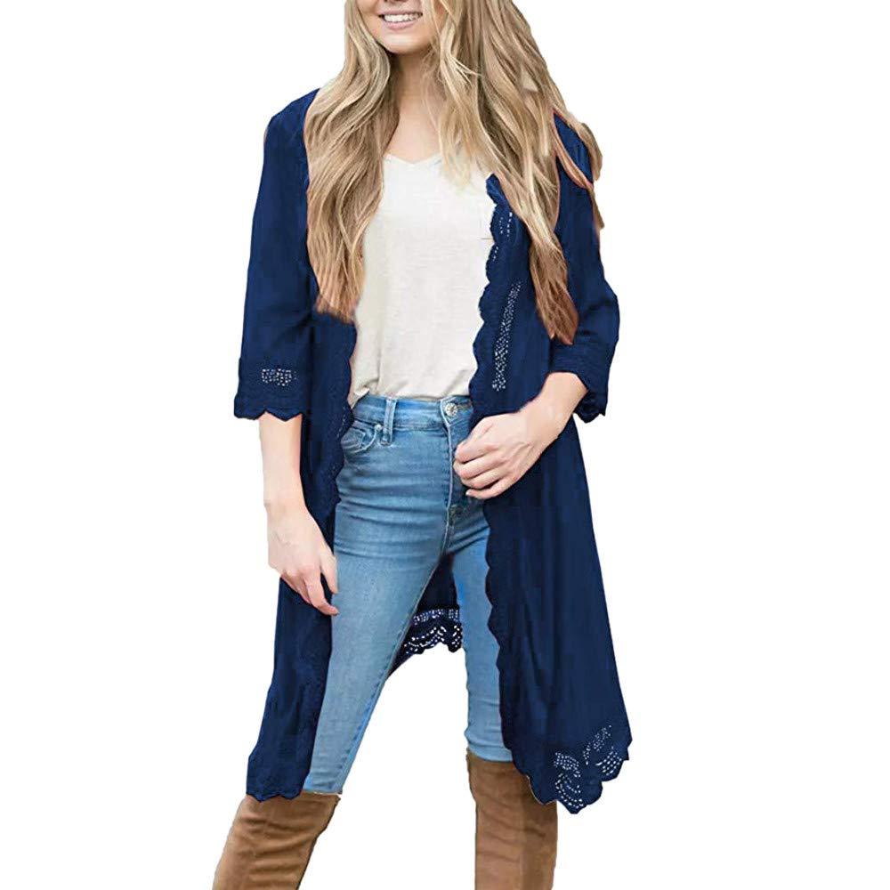 Usstore  Women Girls Lace Cardigan Fashion Stitching Trumpet Cropped Sleeve Shawl Cover Up Travel Kimono Coat Top